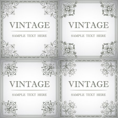 Illustration for The vector image Set of decorative frame in the style of vintage - Royalty Free Image
