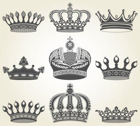 Set crowns in vintage style