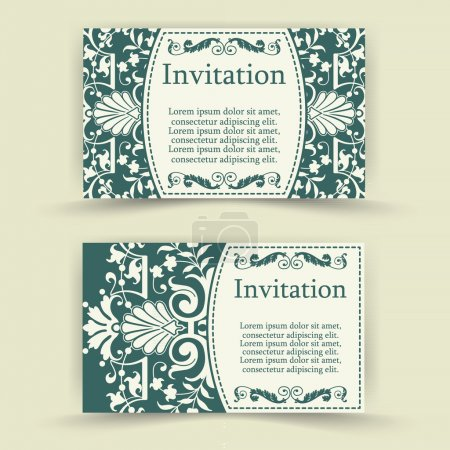 Set of floral invitation cards.