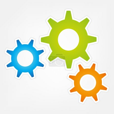 Illustration for Three colorful vector Gears isolated - Royalty Free Image