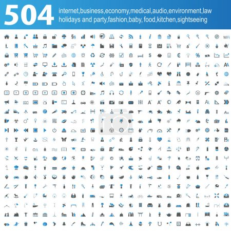 Illustration for 504 blue and grey Icons isolated - Royalty Free Image