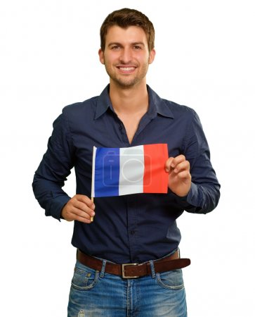 A Young Man Holding A Flag Of France