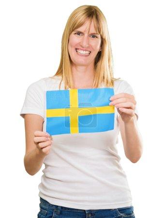 Happy Woman Holding Swedish Flag