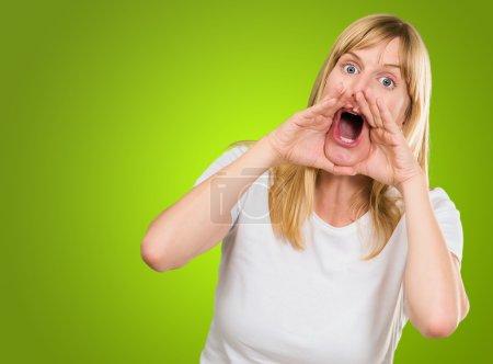 Portrait of a crazy woman shouting