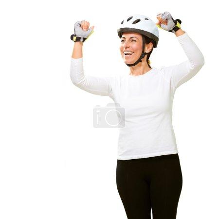 Woman Wearing Helmet Cheering
