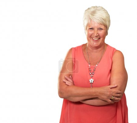Photo for Senior Woman With Hands Crossed Isolated On White Background - Royalty Free Image