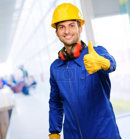 Photo for Engineer With Thumb Up Sign, Indoors - Royalty Free Image