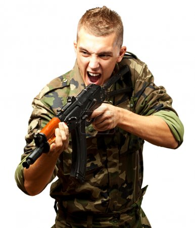 Portrait of an angry soldier aiming