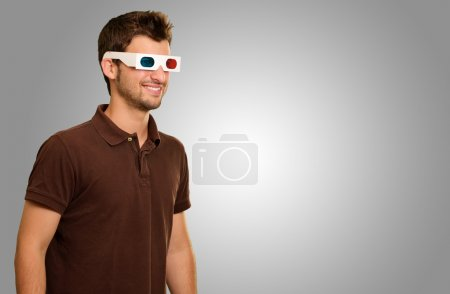Happy Young Man Wearing 3d Glasses