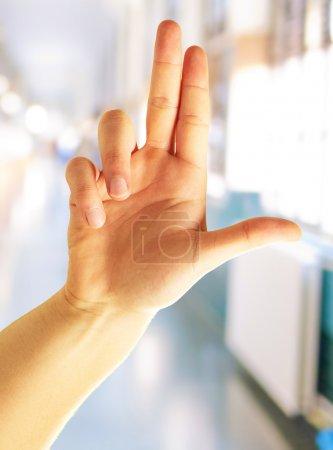 Photo pour Main de l'homme en pointant, fond - image libre de droit