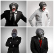 Series Of A Businessman With Monkey Head On Gray B...