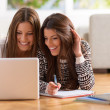 Two Happy Women Looking At Laptop While Lying On F...