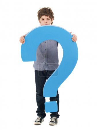 Boy Holding Question Mark Sign