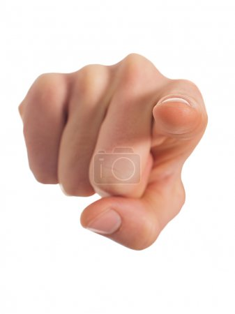 Photo for Close-up Of Human Hand Pointing Over White Background - Royalty Free Image