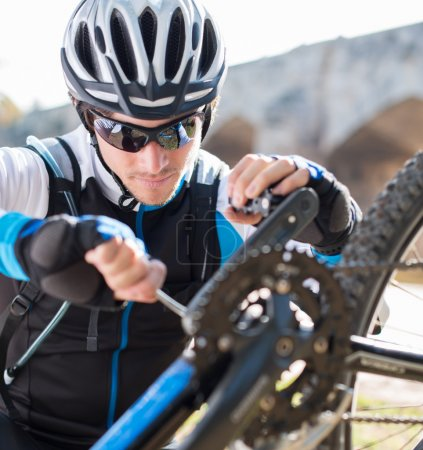 Photo for Happy Young Male Cyclist, Outdoors - Royalty Free Image