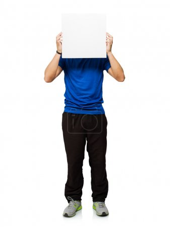 Young Man Covering His Face With Blank Placard