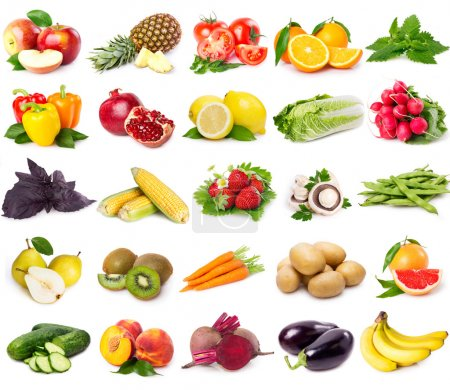 Photo for Collection of fresh fruits and vegetables isolated on white - Royalty Free Image