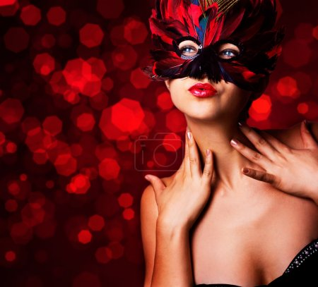 Beautiful woman in carnival mask