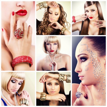 Photo for Beautiful girls with jewelry, collage - Royalty Free Image