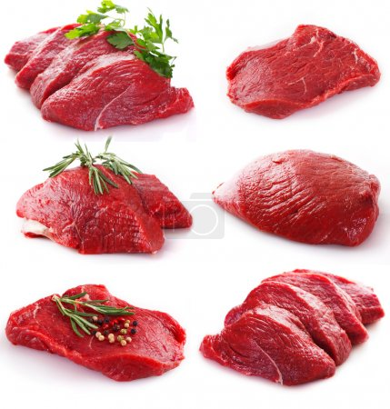 Photo for Raw beef isolated on white background - Royalty Free Image