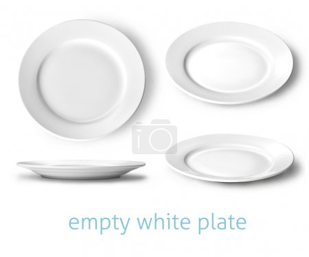 Photo for Set of empty white plate on the white background - Royalty Free Image