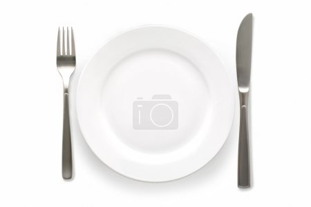 Photo for Cutlery Set with plate. On white background - Royalty Free Image