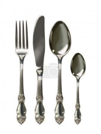 Photo for Cutlery set with Fork, Knife and Spoon isolated - Royalty Free Image