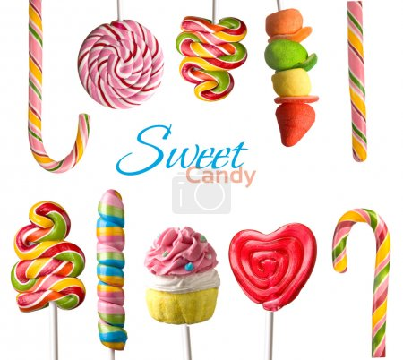 Photo for Colorful lollipops isolated on white background - Royalty Free Image