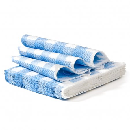 Stack of white napkin in a blue cage of isolation ...