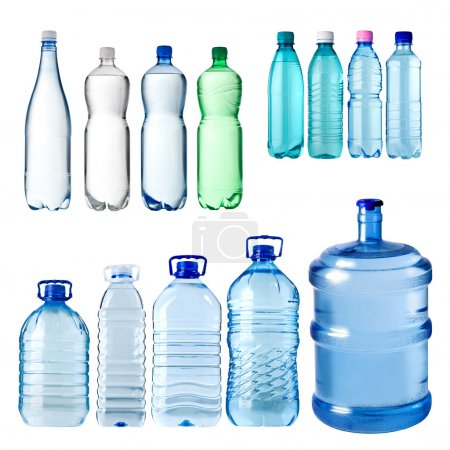 Photo for Set of water bottles isolated on white background - Royalty Free Image