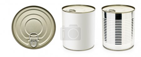 Tin can with ring pull: side, top view. Packaging ...