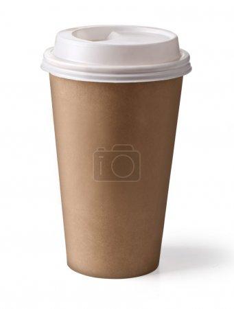 Photo pour À emporter café en thermo tasse. isolé sur un chemin de détourage white.with - image libre de droit