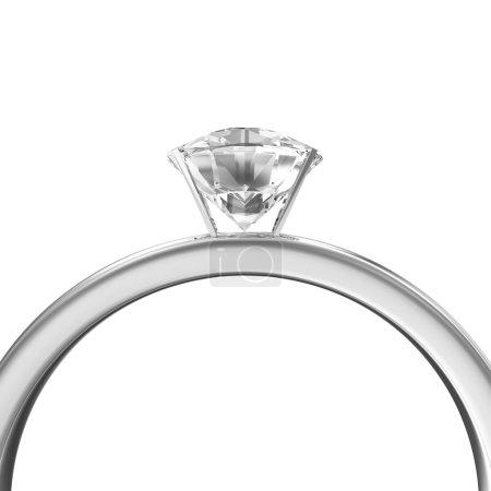 Platinum Wedding Ring with Diamond isolated on white background