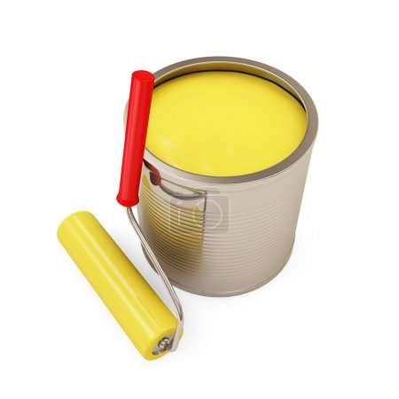 Paint Can with Roller isolated on white background