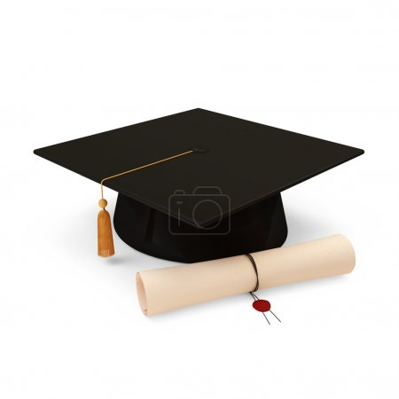 Photo for Graduation Cap and Diploma isolated on white background - Royalty Free Image