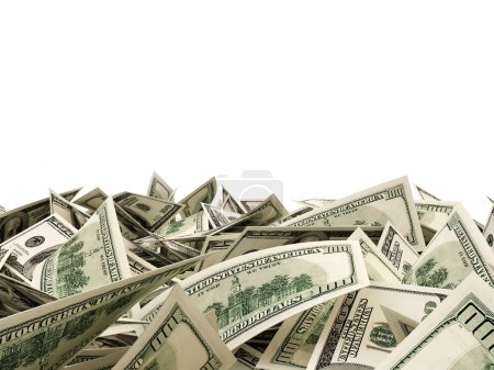 Photo for Heap of Dollar Bills isolated on white background with place for your text - Royalty Free Image