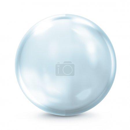 Foto de Esfera de cristal azul vacío aislado sobre fondo blanco - Imagen libre de derechos