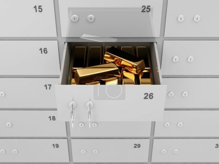 Photo for Opened Deposit Bank Safe with Golden Bars Inside - Royalty Free Image
