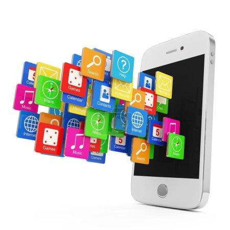Photo pour Blanc smartphone avec nuage d'icônes d'application isolé sur fond blanc - image libre de droit