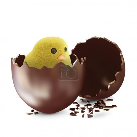 Chocolate Easter Egg with Little Chicken
