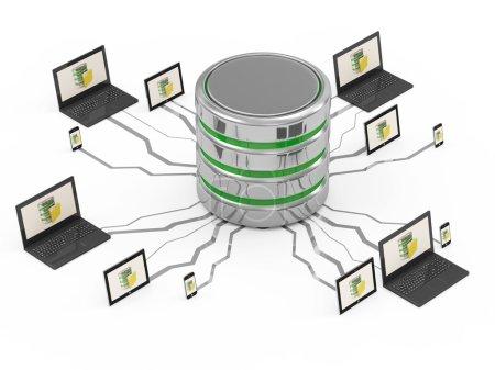 Photo pour Concept de base de données avec ordinateur portable, tablette PC et smartphone à écran tactile - image libre de droit