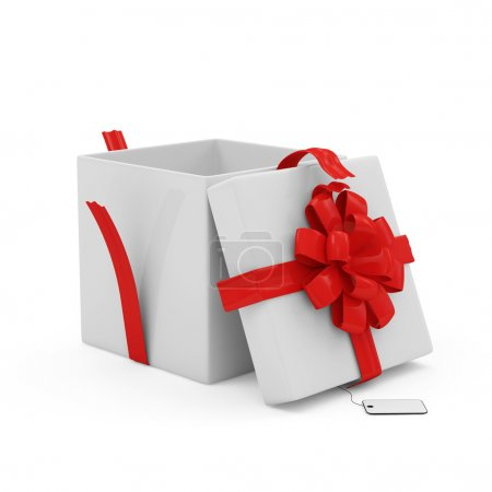 Photo for Opened Gift Box with blank isolated on white background - Royalty Free Image
