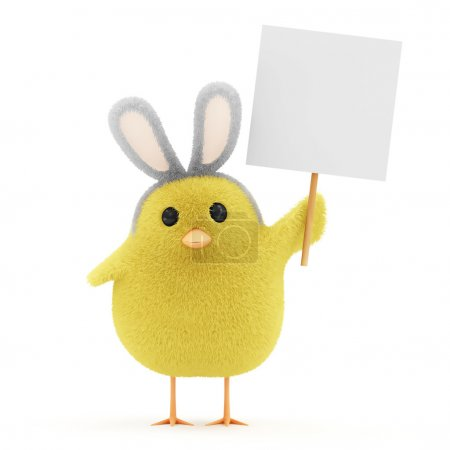 Easter Little Chicken with Bunny Ears and Blank Board