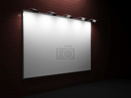 Empty Blank Billboard on Brick Wall at night