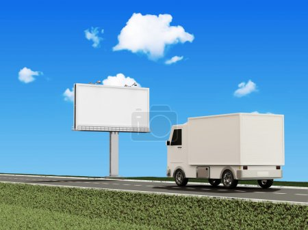 Delivery Van on the Asphalted Road with Blank Billboard