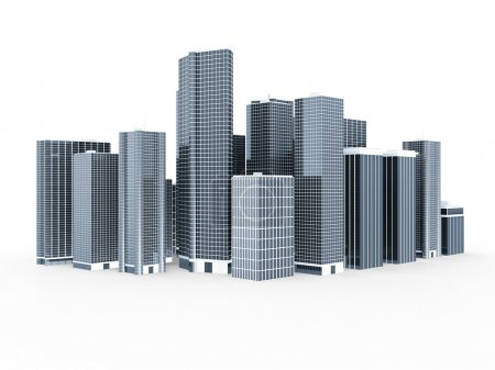 Modern Business City isolated on white background...