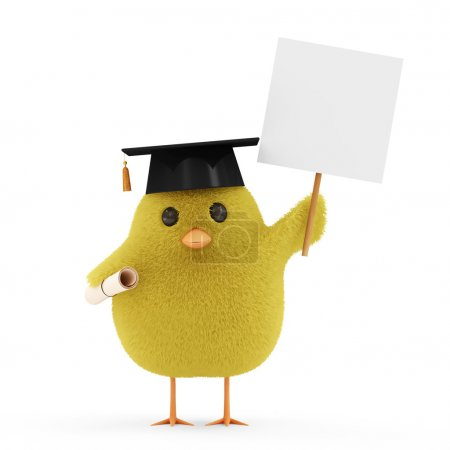 Little Chicken Student with Blank Board isolated on white background