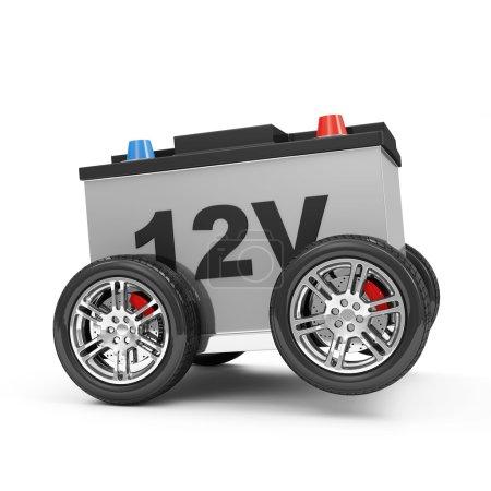 Photo pour Voiture Batterie sur Roues isolé sur fond blanc - image libre de droit