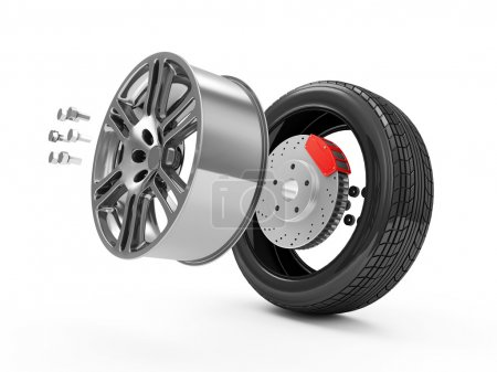 Photo pour Concept de roue de voiture. Roue de voiture démontée isolée sur fond blanc - image libre de droit