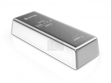 Photo for Silver Bar isolated on white background - Royalty Free Image